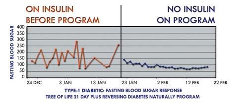 graph - évolution de la dépendance à l'insuline au cours de la cure suivie par  Gabriel Cousens