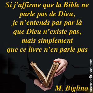 Dieu n'existe pas dans la Bible