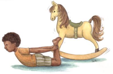 posture du cheval à bascule - yoga enfant