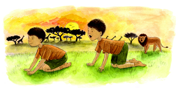exercice yoga enfant  -lion